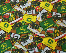 "Rare John Deere Heartland Fabric 2824 Patch Tractor Barn 46"" x 4+ Yds"