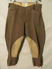 F2069 Riders Green 20's Wool, Leather Accents Riding Pants Men's 37x26