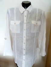Chicos  100%  White Linen Top  Shirt   Roll-up Sleeves 2 Chest Pockets  2  (M)