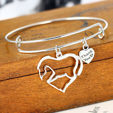 New Heart  Pendant Bangle Bracelet Fashion Hot Gifts Horse Silver Plated