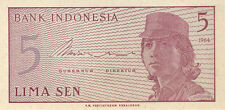 1964 5 LIMA SEN INDONESIA CURRENCY UNC BANKNOTE NOTE MONEY BANK BILL CASH GEM CU