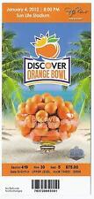 2012 Orange Bowl Game Full Unused Ticket West Virginia Clemson