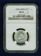SOUTH AFRICA GEORGE VI 1938 SHILLING SILVER COIN UNCIRCULATED CERTIFIED NGC MS62