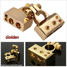 2P Gold Plated Car Audio 12V Battery Terminal Positive/Nagative Clamps Connector