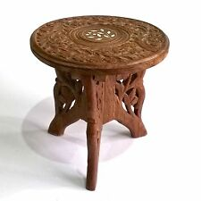 VINTAGE INDIAN HAND CARVED SMALL FOLDING WOODEN SIDE TABLE STAND INLAID DETAIL