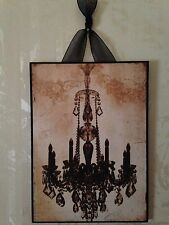 French Black Chandelier Plaque Wall Decor Cottage Chic
