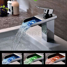 Kitchen Bathroom LED Color Change Sink Basin Waterfall Mixer Tap Faucet