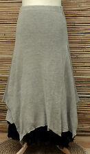 *ZUZA BART*DESIGN BEAUTIFUL100% LINEN LAGENLOOK DUAL LAYER SKIRT*BEIGE* Size L