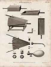 1805 GEORGIAN PRINT ~ PNEUMATICS ~ VARIOUS EQUIPMENT APPARATUS