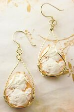 Grecian Goddess with Grapes Cameo Earrings 14k Rolled Gold Orange