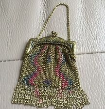 Vintage Retro Art Deco 1930s Chain Mail Purse Evening Bag GT Pink Blue Enamel