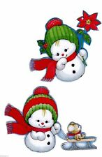 "3.5"" PRECIOUS MOMENTS BEARS SNOWMAN CHRISTMAS HOLIDAY WINDOW CLING DECAL CUT OUT"