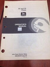 John Deere Operator's Manual 23 and 25 Plows #OMM73873 Issue B7