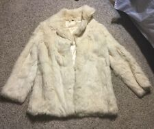 WOMEN'S GENUINE WHITE RABBIT FUR JACKET COAT SZ SMALL Saga