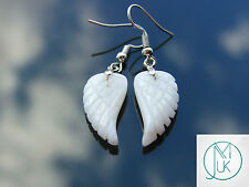 White Jade Angel Wing Gemstone Earrings Natural Quartz Chakra Healing Stone