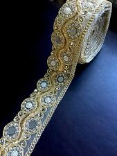 "1.5 meter gold 3"" diamante lace trim mirrors beads stone ribbon border edge sew"