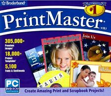 Printmaster 18.1 PC XP Vista 7 8 Print Master Templates Fonts Banners Brand New