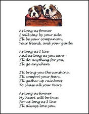 "Beautiful ENGLISH BULLDOG print ""AS LONG AS FOREVER.."" art poem puppy verse NEW!"