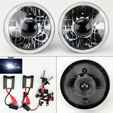 """7"""" Round 8000K HID Xenon H4 Clear Projector Glass Headlight Conversion Pair"""