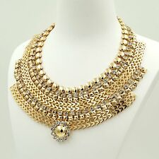 New Fashion 18K Gold GP Clear Crystal Collar Bib Statement Necklace Chain 04626