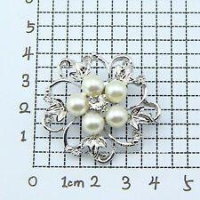 Hot Charming Women Flower Faux Pearl Rhinestone Silver Tone Brooch Gift