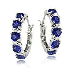 Sterling Silver 2.30ct TGW Created Blue Sapphire S Hoop Earrings