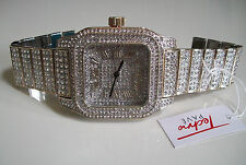Hip hop full Bling clubbing gold/silver finish TECHNO PAVE Rapper Style watch