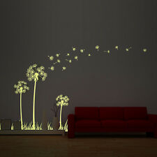 Glow in Dark Dandelion Wall Sticker Room Decoration Interior Paper Art