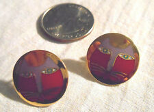 "Laurel Burch Vintage ""Moon Cat"" Round Colorful Cat Print Post Earrings"