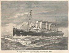 B0125 Battello a Vapore Deutschland - Stampa antica - 1901 Engraving