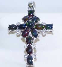 GENUINE! 3.45tcw SOLID Australian Black Opal & Topaz Cross S/Sterling Silver 925
