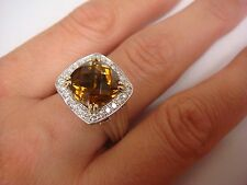 CHARLES KRYPELL COGNAC CITRINE AND DIAMONDS 14K GOLD & 925 SILVER RING, SIZE 7