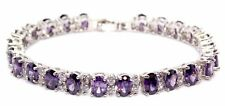Silver Amethyst And White Topaz 14ct Tennis Bracelet (925)