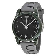 Armani Classic Black Dial Grey Silicone Mens Watch AR1067