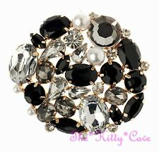 Vintage Deco Style Black Clear Crystal Pearl Cluster Corsage Gold Plt Brooch Pin