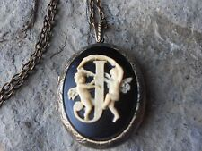 INITIAL J LETTER CAMEO LOCKET - CHERUB, ANGEL, ANTIQUE BRONZE, VINTAGE LOOK