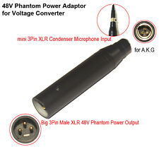12V-48V PHANTOM POWER 3 PIN XLR ADAPTER for 3 PIN MINI XLR TA3F MICROPHONES