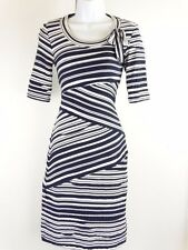 Sara Campbell Stretchy Short Sleeve Striped Tiered Fitted Dress - XSmall