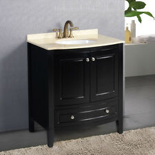 "32"" Bathroom Lavatory Cabinet Vanity Marble Stone Top Ceramic Sink w/Faucet New"