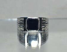 GENUINE  BLACK ONYX~LIGHT WEIGHT 4.2 GRAMS~SIZE 12 ~MEN`S STERLING SILVER RING