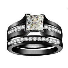 Fashion White Sapphire Birthstone Black Gold Filled Wedding Bridal Ring Size 9