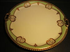 """Ornate Old B&H Limoges 10.5"""" Gold Border Fancy 2 Handled Porcelain Plate / Tray"""