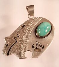Sterling Silver American Indian Bear Pendant With Turquoise Stone
