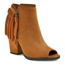 Dolce Vita Womens Booties Josie Western Style Ankle Fringe Taupe Beige Size 8