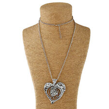 lagenlook silver large open hammered heart pendant and long curb chain necklace