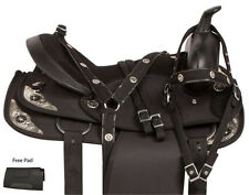 NEW 14 15 16 17 18 SHOW WESTERN TRAIL PLEASURE BLACK HORSE SADDLE TACK SET PAD