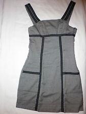Robe TRF ZARA t.S = 36 = 14 a  Gris chiné galon noir coutures blanches  NEUVE
