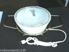 Electric Food Server Set w Glasbake Covered Dish & Warmer in Original Box