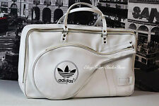 ADIDAS White Hot Duffle Carry On Suitcase Gym Bag Hipster Zip Top 80's Retro VTG