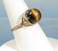 Wire Wrapped Simulated Tiger Eye Bead Ring Goldtone Sz 4.5 -5